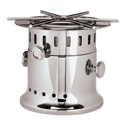 Paderno World Cuisine - 11 in. Stainless Steel Flambe Burner - This 11 in. Paderno World Cuisine flambe burner is top of the line. This elegant, tableside rechaud is used to flambe liquor-based desserts, such as Crepes Suzette. It is also used to keep maintain cooked food hot near guests' table or on a buffet line. It is extremely stable and is made of stainless steel.