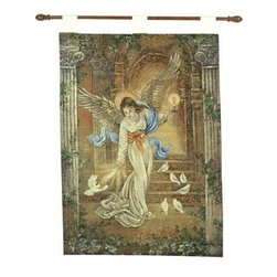 EttansPalace - Decorative Angel of Light Wall Panel - This European-style tapestry boasts both texture and depth of color as bursts of gold-tones create scale and perspective. Skilled weavers exquisitely punctuated each detail on this tapestry, from the hauntingly beautiful image of an ethereal angel to the striking background. Artistically framed by fluted columns that enhance its true beauty, this tapestry is an heirloom-quality textile work. Richly woven of cotton, acrylic and polyester on a quality jacquard loom, this fully lined tapestry accommodates free rod and finials. 26Wx36H. FREE Rod and Finials accent this exquisite homage to the ancient beauty of textile art