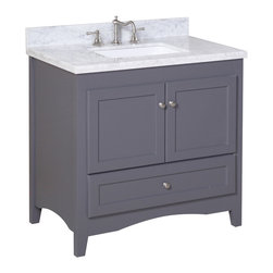 Kitchen Bath Collection - Abbey 36-in Bath Vanity (Carrara/Charcoal Gray) - This bathroom vanity set by Kitchen Bath Collection includes a charcoal gray Shaker-style cabinet with soft-close drawer and self-closing door hinges, double-thick Carrara marble countertop (an incredible 1.5 inches thick at the edge!), undermount ceramic sink, pop-up drain, and P-trap. Order now and we will include the pictured three-hole faucet and a matching backsplash as a free gift! All vanities come fully assembled by the manufacturer, with countertop & sink pre-installed.