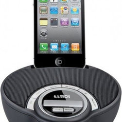 Stereo 2.0 Speaker Dock for iPhone and iPod - The Earson ER1335 features a car steering wheel shaped dock that supports both iPod and iPhone. There are VOL/ / STBY / MODE / MUTE / SCAN PlAY buttons and LED display on the front portion of the dock to maintain its clean and fashional design.