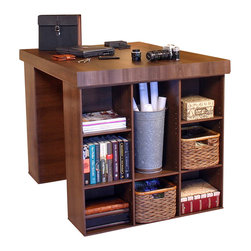 Venture Horizon - Project Center With 2 Bookcases - Dark Walnut - Every home has it's hub. A central location for family projects or individual activities. Key to it's usefulness and enjoyment is the furniture being used. Is it functional, versatile, scalable, and good looking? Will it organize and store all my required materials efficiently and close at hand? Our unique, all-in-one PROJECTCENTER sets a new standard in organizational furniture. Not only will it dramatically increase everyone's productivity but do it in style to boot.