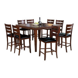 """Acme - 9-Piece Urbana Cherry Finish Wood Square Counter Height Dining Table Set - 9-Piece Urbana cherry finish wood square counter height dining table set with plank look slatted top. This set features a cherry finish wood with a country style slatted square top table with leaf and a leather like upholstered seat cushion on the chairs . This set includes the table and 8 chairs. Table measures 54"""" x 36"""" (54"""" with leaf) x 36"""" H. stools measure 24"""" H to the seat. Some assembly required."""