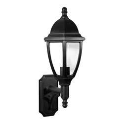 "Lamps Plus - Traditional Everstone 26 1/4"" High 150W Black Outdoor Wall Lantern - This wonderful Blackstone finish outdoor wall fixture carries the exclusive Oceanside Approved designation and is uniquely designed to withstand coastal elements with no adverse effects to the finish. Fiber-reinforced construction will look the same in 10 years as the day it is installed. A clear acrylic lens protects the lamp which uses up to a 150 watt bulb. All mounting hardware inserts and thumbscrews are non-corrosive nylon. From Maxim Lighting. Large bright outdoor wall light. Blackstone finish. Non-corrosive fiber-reinforced polymer construction. Clear acrylic lens. One max 150 watt bulb (not included). UL listed. 26 1/4"" high. 10 3/4"" wide. Extends 12 3/4"". Back plate is 5 1/2"" wide 10 3/4"" high. Mounting point to top is 21 1/4"".  Large bright outdoor wall light.  Blackstone finish.  Non-corrosive fiber-reinforced polymer construction.  Clear acrylic lens.  One max 150 watt bulb (not included).  26 1/4"" high.  10 3/4"" wide.  Extends 12 3/4"".  Back plate is 5 1/2"" wide 10 3/4"" high.  Mounting point to top is 21 1/4""."