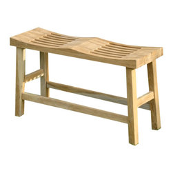 Teak Daels - Curved Double Seat Bench - This backless seat tucks into apartment foyers or powder rooms. It may also be placed outdoors under an arbor in the sunroom as a plant stand or inside the shower to create a sit-and-steam spa. Our Bench is simple yet it adds to the decor of any area where it is placed.