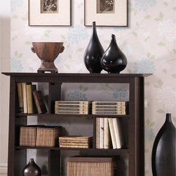 Baxton Studio - Havana Brown Wood Modern Bookcase - Materials: Rubber wood veneered MDF, particleboard Dark brown wenge veneer Three shelf low bookshelf that features offset shelf dividers for added intrigue