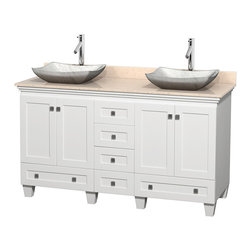 "Wyndham Collection - 60"" Acclaim White Double Vanity w/ Ivory Marble Top & White Carrera Marble Sink - Sublimely linking traditional and modern design aesthetics, and part of the exclusive Wyndham Collection Designer Series by Christopher Grubb, the Acclaim Vanity is at home in almost every bathroom decor. This solid oak vanity blends the simple lines of traditional design with modern elements like beautiful overmount sinks and brushed chrome hardware, resulting in a timeless piece of bathroom furniture. The Acclaim comes with a White Carrera or Ivory marble counter, a choice of sinks, and matching mirrors. Featuring soft close door hinges and drawer glides, you'll never hear a noisy door again! Meticulously finished with brushed chrome hardware, the attention to detail on this beautiful vanity is second to none and is sure to be envy of your friends and neighbors"