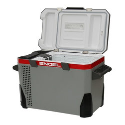 Engel - Dual Voltage Fridge & Freezer w Rubber Bumpers - Weather resistant. Corners are protected with large rubber bumpers. Compact and portable freezing unit. Features the same ultra-efficient cooling system. Ideally suited to boaters and outdoor campers alike. Lid is conveniently reversible for easy access from either side. Storage tray under the lid for spare cords or fuses. Operates off 12/24V DC or 110V AC. Automatically switches power from 12/24 volts DC to 110 volts AC. Stylish all plastic exterior. 2 Year limited warranty. Inside dimensions: 14.5 in. L x 10.5 in. W x 14.4 in. H. Outside dimensions: 25 in. L x 15.5 in. W x 18.5 in. H. Weight: 48 lbs.The Engel MR040 is based on our popular MT45 model. It features the same ultra-efficient cooling system, but now in a more weather resistant and stylish all plastic exterior, which is ideally suited to boaters and outdoor campers alike. The lid is conveniently reversible for easy access from either side. There is a storage tray under the lid for spare cords or fuses. The corners are protected with large rubber bumpers. Operates off 12/24V DC or 110V AC. It automatically switches power from 12/24 volts DC to 110 volts AC. UL approved.