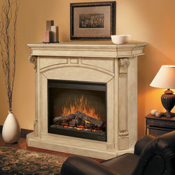 "Dimplex - Bromley Parchment Electric Fireplace Cabinet Mantel Package - SOP-495-P - The Dimplex Bromley Parchment Electric Fireplace Cabinet Mantel Package is a classic design for the home or office. It has elegant moldings and a pale, rich finish that showoff the large 30"" firebox. Patented Dimplex Flame technology uses hand finished logs with an inner glow for optimal realism. A fading ember effect and adjustable flames add to the effect. As an added bonus, the patented Purifire Air Treatment System removes allergens as the unit runs."