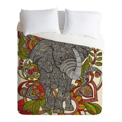DENY Designs - Valentina Ramos Bo The Elephant Duvet Cover - Turn your basic, boring down comforter into the super stylish focal point of your bedroom. Our Luxe Duvet is made from a heavy-weight luxurious woven polyester with a 50% cotton/50% polyester cream bottom. It also includes a hidden zipper with interior corner ties to secure your comforter. it's comfy, fade-resistant, and custom printed for each and every customer.