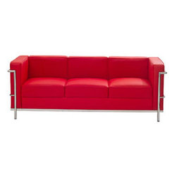 """LexMod - Charles Petite Leather Sofa in Red - Charles Petite Leather Sofa in Red - Urban life has always a quandary for designers. While the torrent of external stimuli surrounds, the designer is vested with the task of introducing calm to the scene. From out of the surging wave of progress, the most talented can fashion a forcefield of tranquility. Perhaps the most telling aspect of the Charles series is how it painted the future world of progress. The coming technological era, like the externalized tubular steel frame, was intended to support and assist human endeavor. While the aesthetic rationalism of the padded leather seats foretold a period that would try to make sense of this growth. The result is an iconic sofa series that became the first to develop a new plan for modern living. If previous generations were interested in leaving the countryside for the cities, today it is very much the opposite. If given the choice, the younger generations would rather live freely while firmly seated in the clamorous heart of urbanism. The Charles series is the preferred choice for reception areas, living rooms, hotels, resorts, restaurants and other lounge spaces. Set Includes: One - Le Corbusier LC2 Sofa Genuine Leather Seating Surfaces, Stainless Steel Frame, Multi-Density Foam Cushions Overall Product Dimensions: 71""""L x 26.5""""W x 28""""H Seat Height: 17""""H - Mid Century Modern Furniture."""