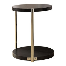 Monarch - Metal Accent Table, Cappucino - To have or not to have just isn't an option! This handy cappuccino finished accent table offers individuals a simple yet favorable way for placing drinks, snacks or meals while watching TV or chatting on the sofa. Its sturdy yet fashionable chrome metal base and tempered glass top provide exceptional support to this must-have piece!