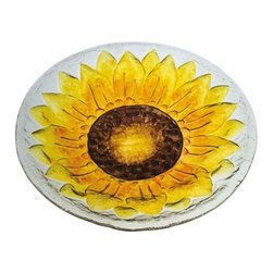 Evergreen - Sunflower Glass Bird Bath - Glass Bird Bath, Sunflower -Constructed of high quality glass. Hand-painted detailed designs. Beautiful enough to be used for indoor dicor.