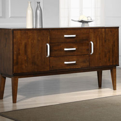 None - Draper Tobacco Finish Buffet Cabinet - This beautiful mid century modern Draper Buffet is the perfect addition to your home. With rubberwood construction and ample storage space, this piece is as elegant as it is functional.