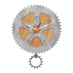 Inova Team -Modern Bamboo Handmade Wall Clock - Time flies when you're riding your fixie! Bring the fun of a pedal though the park to your home or office with this eye-catching pendulum clock, crafted from used bike parts. A sleek bamboo background lends an organic touch to the clock face, while the chain ring gives the design an industrial edge. Handmade in Oregon.