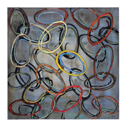 Diversions - Bold-colored ovals link together on a contrasting grey background to create this modern abstract. Hand-painted with a high gloss finish.
