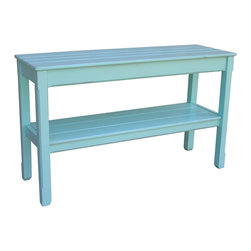 Tradewinds - Cottage Plank Console Table, Aqua - This cottage plank console table featuring cottage furniture design makes an ideal furnishing accessory for an entryway or the living room. It is available in multiple choice of finish, to create the right appeal in your space. This table has a lower shelf to precisely accommodate the B-100 baskets and other miscellaneous stuff.
