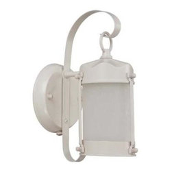 Nuvo - Utility Outdoor - 1 Light - Piper Outdoor Wall Fixture - Frosted Glass - Clear Seed Shade. UL Wet Rated. Fluorescent . ENERGY STAR Rated. Energy Saver. Color/Finish: White. Max wattage: 13w. Bulb(s) included. 6 in. L x 5 in. W x 10.625 in. H