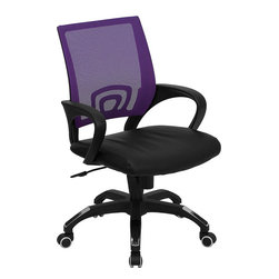 Flash Furniture - Mid-back Purple Mesh Computer Chair with Black Leather Seat - For a contemporary and stylish mesh computer chair for your home or office there's no need to look any further. This ergonomic task chair with mesh back from Flash Furniture will provide a comfortable and functional addition to any setting. Featuring a cool mesh back, leather seat, and a designer base, this computer chair will provide all the necessities for a home or office desk chair with a few extra features.