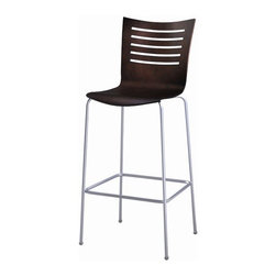 """Grand Rapids Chair - Mojo Bar Stool - Gracefully tapered legs distinguish this Euro-inspired shell chair. Stacks up to seven high depending on your back style. Features: -Epoxy /polyester finish is baked in to create a beautiful durable color rich surface. -Plywood shell made with 11 layers of 1mm thick face grade veneer. -High quality plating grade steel. -Wood components are hand sanded and stained. -Made in USA. -Dimensions: 24""""-47.5"""" H x 19.5"""" W x 21"""" D."""