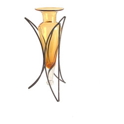 Danya B - 14 Inch Half Moon Metal Stand Design with Amphora Vase, Amber - • Vase on Half Moon Stand.