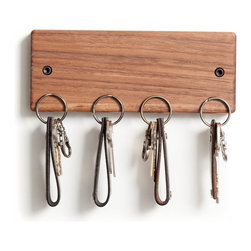 Handmade Walnut Key Hanger - Keep your space organized with this handmade walnut keyholder. With a powerful magnetic interior, you don't have to fuss with hooks when you want to put your keys away�ۡ����simply press your keyring against one of the four magnetic hot spots and voil�_��.