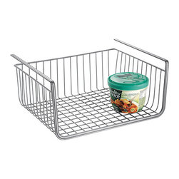 InterDesign - Silver York Lyra Under-Shelf Basket - Organize loose items with this wire basket, from canned goods to cleaning supplies. The durable steel construction means it's a long-lasting addition to the kitchen.   Contents not included 12.5'' W x 10'' H x 5.7'' D Chrome-plated steel wire Imported
