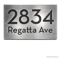 """Neutraface Street Address Plaque - No border 16"""" x 10.5"""" in Recessed Pewter Fini - Neutraface Street Address Plaque - No border is another great sign using one of our best and most popular fonts. The Neutraface font is bold and easy to read, yet conveys a great deal of class."""