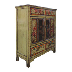 Golden Lotus - Chinese Antique Flower Hand Painting Side Storage Cabinet - This is a Chinese antique side cabinet which is made of solid elm wood.  The front of cabinet has original flower hand painting on it.