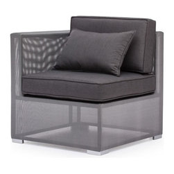 Zuo Modern - Zuo Clear Water Bay Corner in Gray - Clear Water Bay Corner Gray by Zuo Modern Versatile and durable, the Clear Water Outdoor series will transform any outdoor setting. The frame is aluminum with a textile weave outer covering. Cushion ins are made of an antimicrobial foam with a UV and water resistant fabric cover. Corner (1)