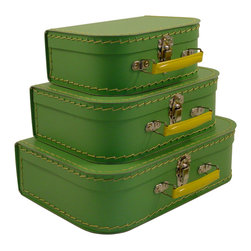 Cargo - Cargo Traveler Mini Suitcases, Set of 3, Soft Green - Retro style mini suitcases.  Set of 3.  Super cute carry cases.  Delightful decorative storage for supplies, small toys, etc.  Unique gift packaging, party favors, craft project.  An eco-friendly product.