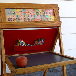 Vintage Artisan Folding Easel/Child's Desk by Divine Orders - This is a great desk option, especially for small spaces, as it folds up and becomes an easel. I didn't have anything like this in my childhood, but it is an adorable piece.