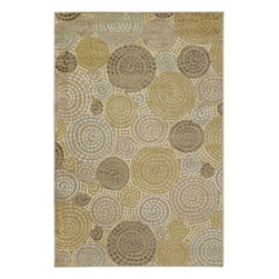 Surya - Basilica Circle Tan/Gold Rectangular Area Rug - Amazing color palette and gorgeous design with shimmering details of this Basilica Circle Tan/Gold Rectangular Area Rug are sure to impress your guests instantly. Machine made in Turkey from a combination of viscose and acrylic chenille, these rugs are durable, stylish and soft. Modern motifs and cutting edge construction, they make a sophisticated statement in any transitional or contemporary space.