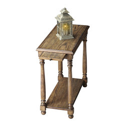 Butler Furniture - Chair side Table - Selected solid woods and choice cherry veneers. Four-way matched cherry veneer top with cherry veneer border. Cherry veneer bottom shelf. Pull out ledge with antique brass finished hardware.