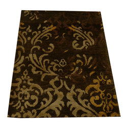 1800-Get-A-Rug - Wool and Silk Modern Nepali Hand Knotted Oriental Rug Damask Design Sh18547 - Our modern & contemporary hand knotted rug collection contains some of the latest designs in the industry. The range includes geometric, transitional, abstract, and modern designs; from the Tibetans to the Gabbeh. We offer an entire line of contemporary designs, whether you're searching for sophisticated and muted to the vibrant and bold.