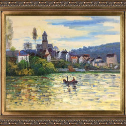 """overstockArt.com - The Seine at Vetheuil by Monet - 20"""" X 24"""" Oil Painting On Canvas Hand painted oil reproduction of a famous Monet painting, The Seine at Vetheuil. The original masterpiece was created in 1879. Today it has been carefully recreated detail-by-detail, color-by-color to near perfection. Why settle for a print when you can add sophistication to your rooms with a beautiful fine gallery reproduction oil painting? While Monet successfully captured life's reality in many of his works, his aim was to analyze the ever-changing nature of color and light. Known as the classic Impressionist, Monet cannot help but inspire deep admiration for his talent in those who view his work. This work of art has the same emotions and beauty as the original. Why not grace your home with this reproduced masterpiece? It is sure to bring many admirers!"""