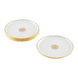 Maison Alma - Arienne Signature Medallion Drink Coasters, White & 24k Gold - Treat your family and guests like royalty. This set of four Limoges white porcelain coasters features a band of 24-karat gold or platinum and a signature center medallion to elevate even the most humble beverage to Dom Perignon status.