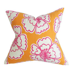 The Pillow Collection - Winslet Orange 18 x 18 Floral Throw Pillow - - Pillows have hidden zippers for easy removal and cleaning  - Reversible pillow with same fabric on both sides  - Comes standard with a 5/95 feather blend pillow insert  - All four sides have a clean knife-edge finish  - Pillow insert is 19 x 19 to ensure a tight and generous fit  - Cover and insert made in the USA  - Spot clean and Dry cleaning recommended  - Fill Material: 5/95 down feather blend The Pillow Collection - P18-D-42348-TANGERINE-C100
