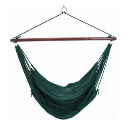 """Caribbean Hammocks - Jumbo Hammock Chair 55"""" Wide Free Suspension Kit, Green - This is truly the king of the 'Jumbo' Hammock Chairs. Most other 'Jumbo' chairs are 47"""" wide, but this Jumbo Hammock Chairs spreader bar is 55"""" wide. Why? Well the wider the spreader bar, the more comfortable it is. When making comparisons make sure to check the width of the Hammock Spreader Bar."""