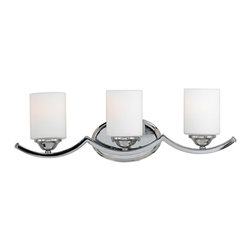 Quoizel - Quoizel EI8603C Ellis 3 Light Bathroom Vanity Lights in Polished Chrome - Long Description: Wake up your ordinary bathroom with this sleek design. The cool white cylindrical shades coupled with the shiny polished chrome finish are a classic combination of materials, but with an unconventional design. This piece can be mounted as upfacing or downfacing.