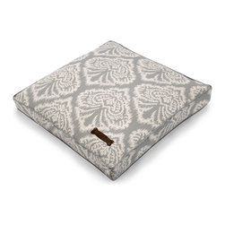 """Spades Pet Pillow - 25"""" - Soft-edged, elegant damask motifs pattern the dove-grey cover of the Spades Pet Pillow, a beautiful accent for your home that offers pearly neutrals a graceful play at floor level.  Attractive on light or dark floors, this pet bed is trimmed with neat piping and accented with an iconic bone motif for understated structure that draws attention to the lovely fabric design."""