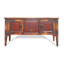 Koenig Collection - Mediterranean Buffet Needles, Oak Stained With Leather Embossed Panels & Drawers - Mediterranean Buffet Needles, Oak Stained with Leather Embossed Panels & Drawers