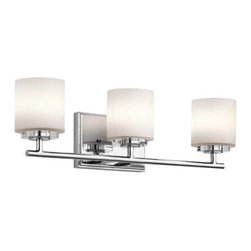 """Kichler - Kichler 45502CH O Hara 3 Light Bathroom Lighting in Chrome 45502CH - Add a touch of bling and make any modern bath glamorous with this 3 light bath light from the O'Hara collection. The light from the Satin Etched Cased Opal glass sparkles on the clean lines of the Chrome finish and crystal bobeche.Fixture housing is constructed of steel - ensuring years of reliable performance Ambient light casts soft generalized illumination over a wide area Kichler's line of bathroom fixtures are designed to disperse optimal light for all lavatory needs Ultra secure mounting assemblyBase Backplate: 7"""" x 4.5"""" Bulb Base: G9 Bulb Type: Halogen Bulbs Included: Yes Collection: O Hara Country of Origin: China Energy Efficient: No Extends: 5 Finish: Chrome Height: 6-1 4 Light Direction: Ambient Lighting Material: Steel Number of Lights: 3 Safety Rated: Damp Shade Color: White Shade Material: Glass Shade Shape: Cylinder Style: Transitional Voltage: 120 Wattage: 50 Weight: 4.2 Width: 22"""