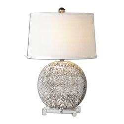 Uttermost - Albinus White Lamp - Textured ceramic finished in an aged ivory glaze with rustic bronze undertones accented with a crystal foot. The tapered oval hardback shade is a crisp white linen fabric. Due to the nature of fired glazes on ceramic lamps, finishes will vary slightly.