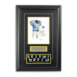 """Heritage Sports Art - Original art of the NFL 1994 San Diego Chargers uniform - This beautifully framed piece features an original piece of watercolor artwork glass-framed in an attractive two inch wide black resin frame with a double mat. The outer dimensions of the framed piece are approximately 17"""" wide x 24.5"""" high, although the exact size will vary according to the size of the original piece of art. At the core of the framed piece is the actual piece of original artwork as painted by the artist on textured 100% rag, water-marked watercolor paper. In many cases the original artwork has handwritten notes in pencil from the artist. Simply put, this is beautiful, one-of-a-kind artwork. The outer mat is a rich textured black acid-free mat with a decorative inset white v-groove, while the inner mat is a complimentary colored acid-free mat reflecting one of the team's primary colors. The image of this framed piece shows the mat color that we use (Yellow). Beneath the artwork is a silver plate with black text describing the original artwork. The text for this piece will read: This original, one-of-a-kind watercolor painting of the 1994 San Diego Chargers throwback uniform is the original artwork that was used in the creation of this San Diego Chargers uniform evolution print and tens of thousands of other San Diego Chargers products that have been sold across North America. This original piece of art was painted by artist Nola McConnan for Maple Leaf Productions Ltd. Beneath the silver plate is a 3"""" x 9"""" reproduction of a well known, best-selling print that celebrates the history of the team. The print beautifully illustrates the chronological evolution of the team's uniform and shows you how the original art was used in the creation of this print. If you look closely, you will see that the print features the actual artwork being offered for sale. The piece is framed with an extremely high quality framing glass. We have used this glass style for many years with excelle"""