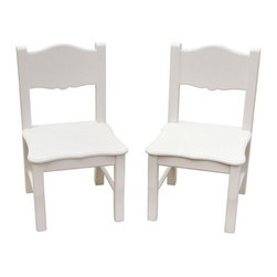 "Guidecraft - Extra Kid's Desk Chair (Set of 2) - Features: -Styled to coordinate with a variety of room decor.-Seating and dress up items.-Angled back legs, hardwood posts and steel hardware.-Set of 2.-Soft white matte finish and gently scalloped silhouettes on key storage.-Distressed: No.-Product Type: Chair.-Collection: Classic.-Finish: White.-Hardware Finish: Plated.-Powder Coated Finish: No.-Gloss Finish: Yes.-Hardware Material: Steel.-Solid Wood Construction: No.-Non-Toxic: Yes.-UV Resistant: No.-Fire Resistant: No.-Scratch Resistant: No.-Stain Resistant : No.-Rust Resistant: No.-Mildew Resistant: No.-Rot Resistant: No.-Insect Resistant: No.-Arms Included: No.-Upholstered Seat: No.-Upholstered Back: No.-Rocker: No.-Swivel: No.-Glider: No.-Reclining: No.-Footrest Included: No.-Stackable: No.-Foldable: No.-Inflatable: No.-Legs Included : Yes -Number of Legs: 4.-Leg Material: Birch.-Protective Floor Glides: No..-Casters: No.-Cupholder: No.-Skirted: No.-Ottoman Included: No.-Adjustable Height: No.-Ergonomic Design: No.-Age Recommendation: 2 yrs.-Outdoor Use: No.-Seating Capacity: 1.-Weight Capacity: 100 lbs.-Swatch Available: No.-Commercial Use: Yes.-Recycled Content: No.-Eco-Friendly: No.-Product Care: Wipe clean with damp cloth and warm soapy water.-Convertible: No.Specifications: -FSC Certified: No.-CPSIA or CPSC Compliant: Yes.-CARB Compliant: No.-Green Guard Certified: No.Dimensions: -Overall Height - Top to Bottom: 25"".-Overall Width - Side to Side: 12.5"".-Overall Depth - Front to Back: 12.5"".-Seat Height: 12"".-Seat Width - Side to Side: 12.75"".-Seat Depth - Front to Back: 12"".-Legs: -Leg Height: 10.75"".-Leg Width: 1.25"".-Leg Depth: 1.25""..-Overall Product Weight: 16 lbs.Assembly: -Assembly Required: Yes.-Tools Needed: Phillips screw driver.-Additional Parts Required: No.Warranty: -1 Year limited warranty.-Product Warranty: 1 year manufacturer defect."