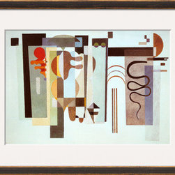 Artcom - Two Green Points by Wassily Kandinsky - Two Green Points by Wassily Kandinsky is a Framed Art Print set with a CIRRUS Bronze and Gold wood frame and a Crisp - Bright White mat.