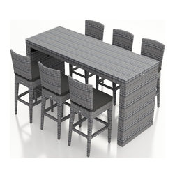 Harmonia Living - Urbana 7 Piece Weathered Stone Wicker Bar Set, Canvas Charcoal Cushions - The Harmonia Living Urbana 7 Piece Outdoor Bar Set with Gray Sunbrella Cushions (SKU HL-URBN-WS-7BS-CC) with Resin Wicker will add style to any back yard, balcony, or outdoor space. The set's compact, minimalist design can fit your guests into small areas without compromising its contemporary look. The table and four stools are covered in a modern, High-Density Polyethylene (HDPE) wicker infused with a Weathered Stone color and UV protection, designed to last despite harsh outdoor elements. Each piece is framed with powder-coated, thick-gauged aluminum for strength and excellent corrosion resistance. The seats feature additional reinforcement to prevent the resin wicker from stretching over the life of the stools. Conveniently, underneath each piece are plastic guides to let you slide the seats or rearrange this patio dining set freely without worrying about damage to your patio or deck.