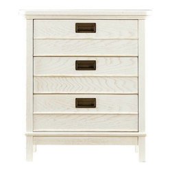 Stanley Furniture - Coastal Living Resort-Cape Comber Chairside Chest - The nautical illusions are strong in our Cape Comber Chairside Chest. The three-drawer occasional table harkens to captain's quarters because of its inset metal drawer pulls. Not too flashy, this is one sturdy, hardworking chest that is adaptable to so many situations, you may find yourself wanting one in every room.