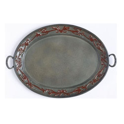 Old Dutch International - Art Nouveau Oval Tray - Tray with handle. Made from steel. Powder coated verdigris finish. No assembly required. 17 in. L x 13 in. W x 1 in. H (6 lbs.)