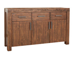 Modus Furniture - Modus Furniture Meadow Solid Wood Sideboard in Brick Brown - Modus Furniture - Buffet Tables and Sideboards - 3F4173